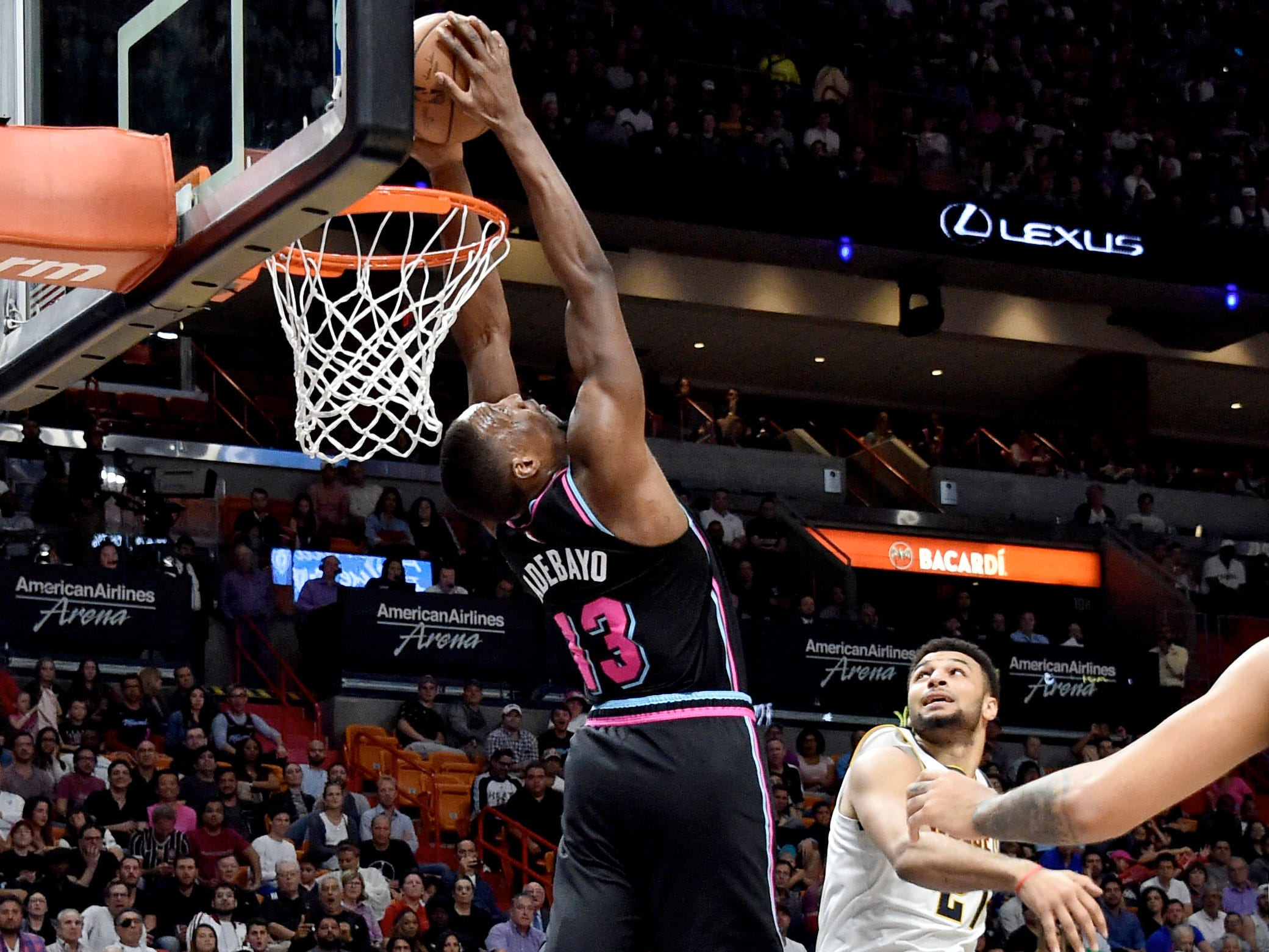 Jan. 8: The Miami Heat's Bam Adebayo dunks against the Denver Nuggets at American Airlines Arena.