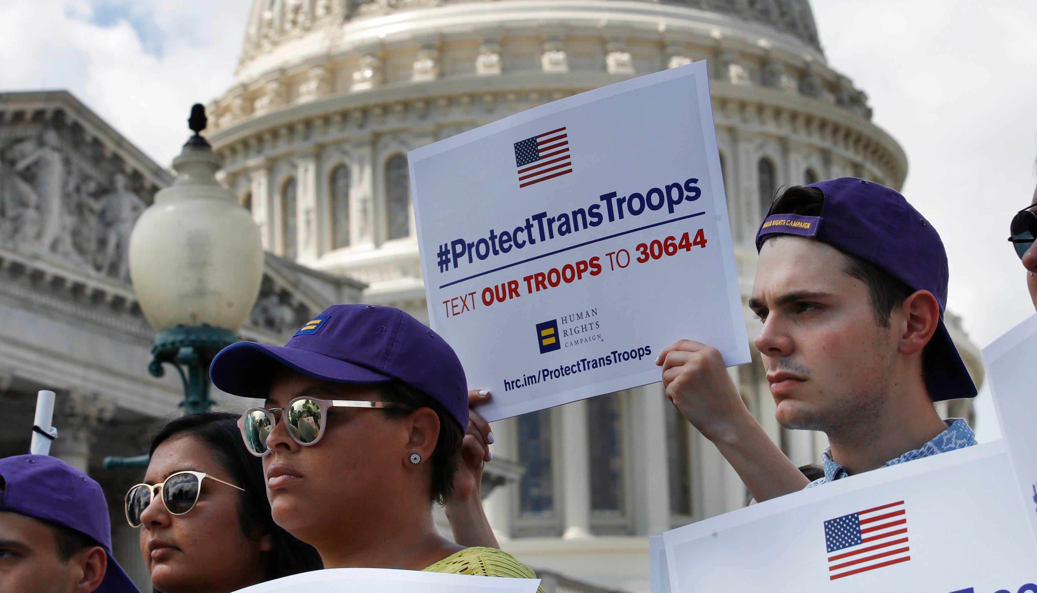 President Trump's ban on transgenders serving in the military produced protests in 2017.