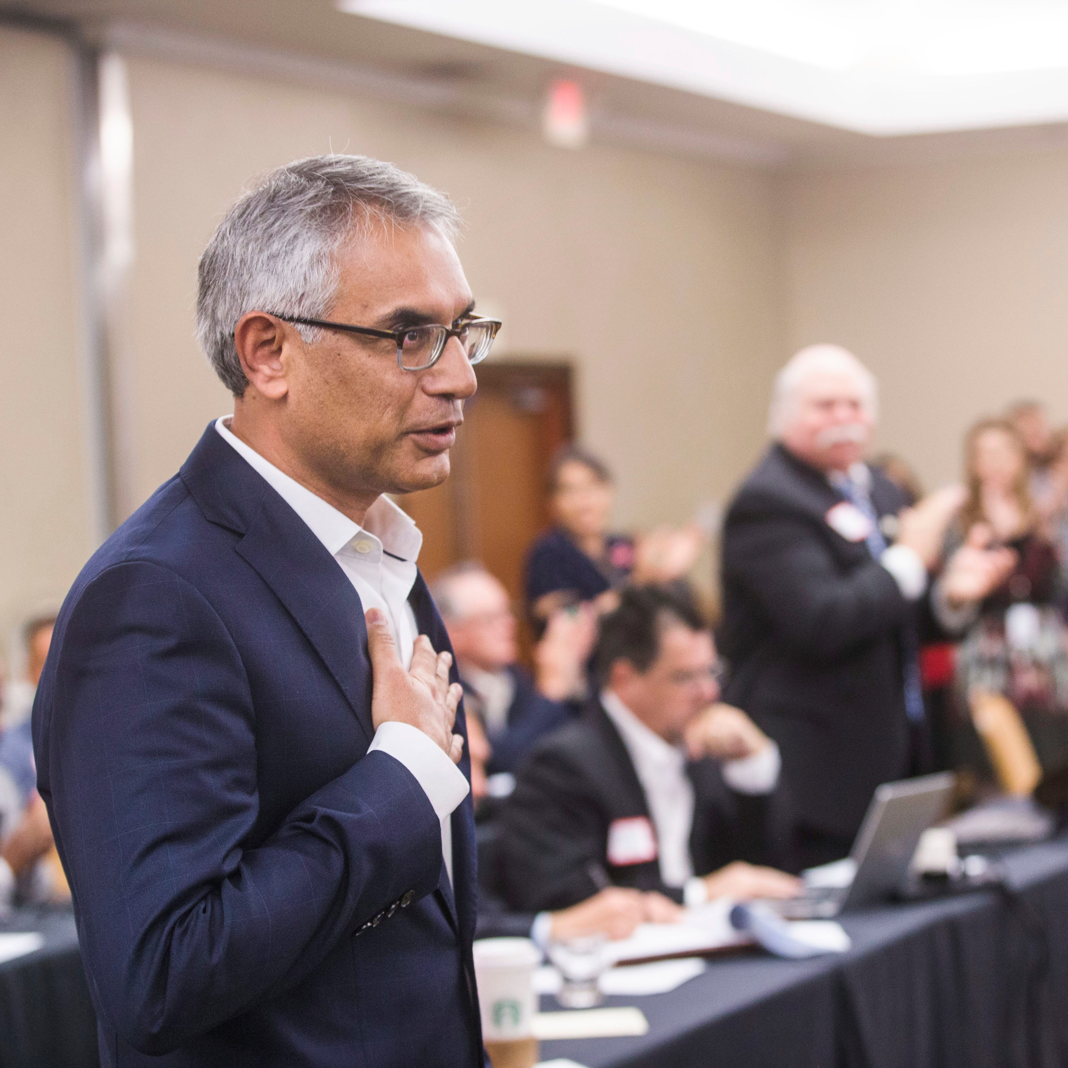 Dr. Shahid Shafi, speaks before members of the State Republican Executive Committee, following a vote in favor of resolution that opposes an effort by the Tarrant County Republican Party (TCRP) to remove him as vice chair because of his religion, during the committee's quarterly meeting on Dec. 1, 2018, in Austin. Email exchanges involving county Republican leaders in Texas reveal efforts to remove Shafi, a party vice chairman because he's Muslim.