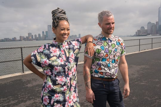 "Trinidadian designer Anya Ayoung-Chee, left, and Texas native Anthony Ryan compete on the new season of ""Project Runway All Stars."""