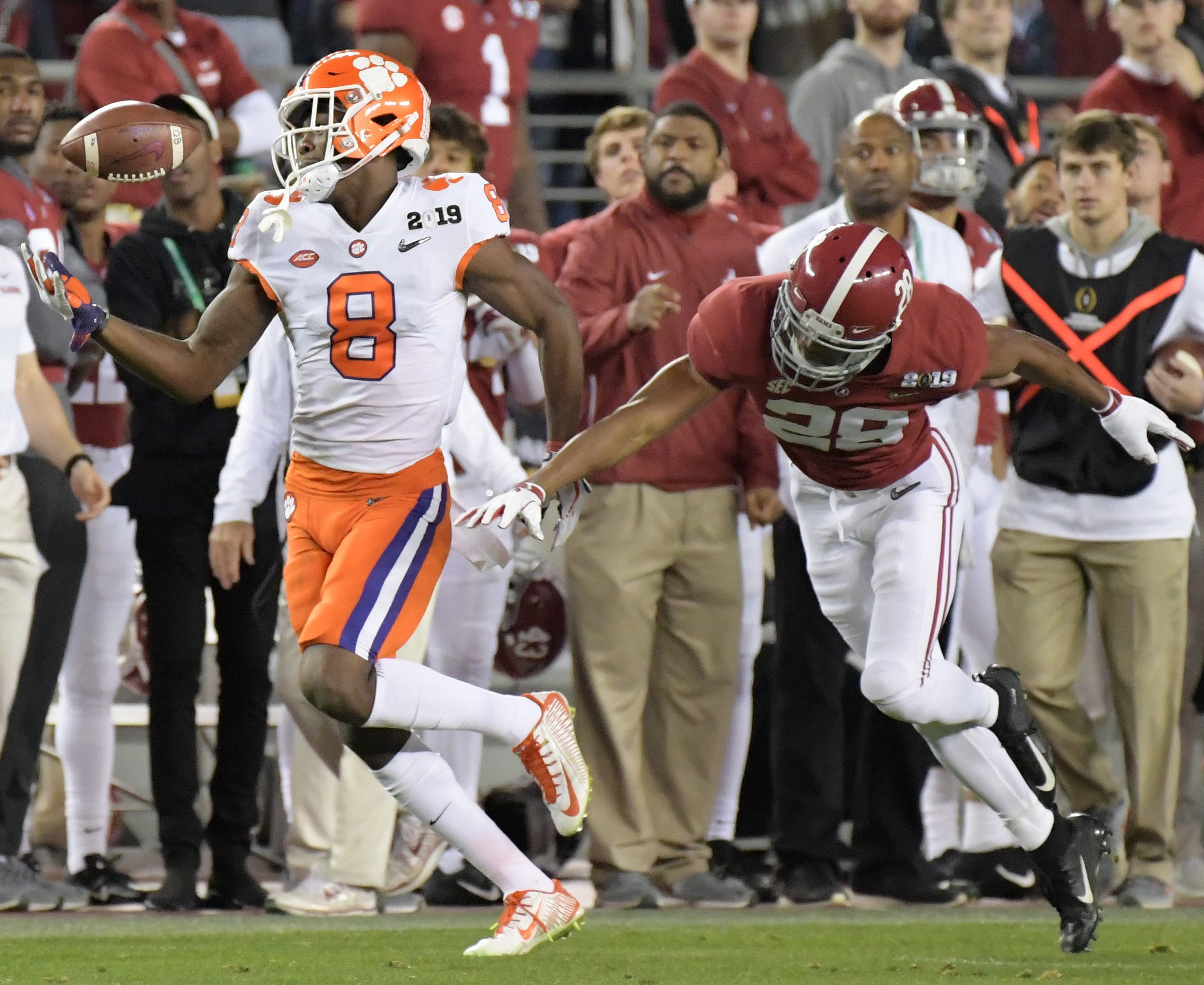 Clemson wide receiver Justyn Ross attempts to make a catch while being defended by Alabama defensive back Josh Jobe during the 2019 College Football Playoff championship game.