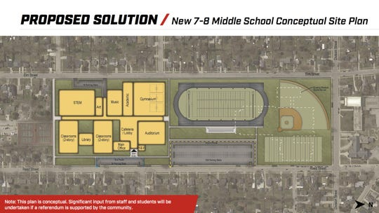 The proposed $83.9 million Shattuck Middle School would be built on the south end of the campus, and the athletic fields would be moved to the north end.