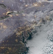 A satellite image of New Jersey, captured on the morning of Thursday, Jan. 10. Some snow is expected this weekend.