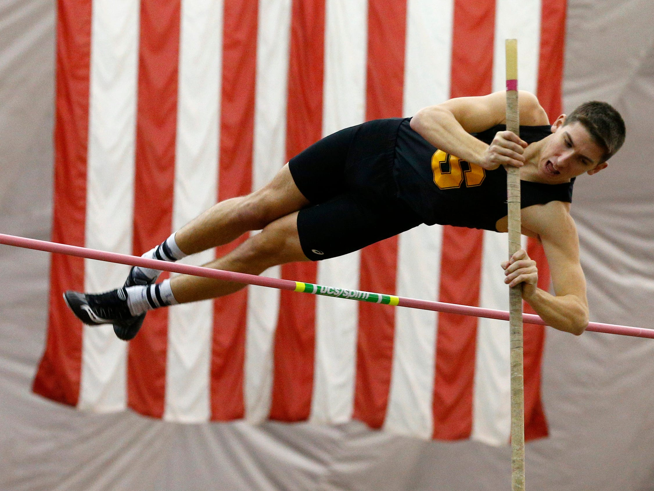 Southern Regional's David Spingstead competes in the pole vault during the Ocean County Indoor Track Championships at the Bennett Indoor Complex in Toms River Wednesday, January 9th, 2019.