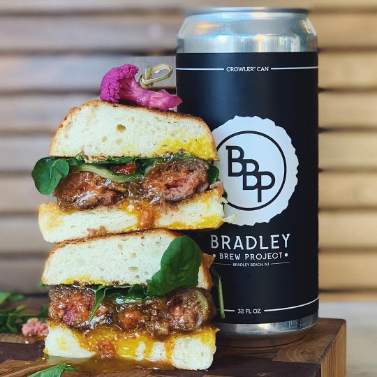 A Scotch egg burger and beer from Bradley Brew Project were featured during a recent Burgers and Brews night at Modine in Asbury Park.