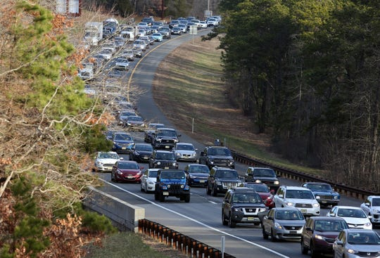 Traffic on the Garden State Parkway following an accident on January 10, 2019.