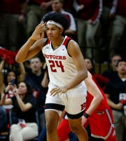 Jan 9, 2019; Piscataway, NJ, USA; Rutgers Scarlet Knights forward Ron Harper Jr. (24) reacts after making a three point basket against the Ohio State Buckeyes during the first half at Rutgers Athletic Center (RAC).