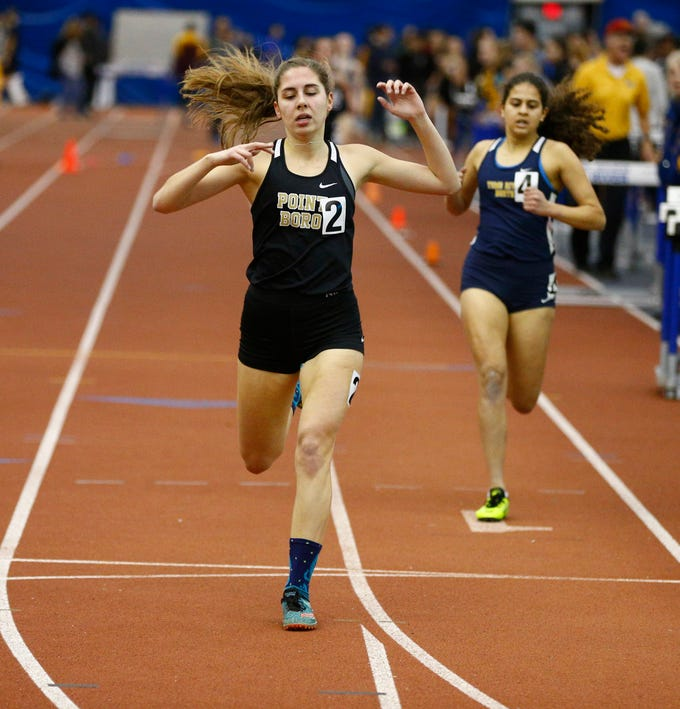 Point Pleasant Boro's Sarah Kimak wins the 1600m during the Ocean County Indoor Track Championships at the Bennett Indoor Complex in Toms River Wednesday, January 9th, 2019.  Her time was 5:22.82.