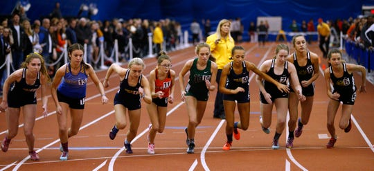 Runner start the 1600m race during the Ocean County Indoor Track Championships at the Bennett Indoor Complex in Toms River Wednesday, January 9th, 2019.