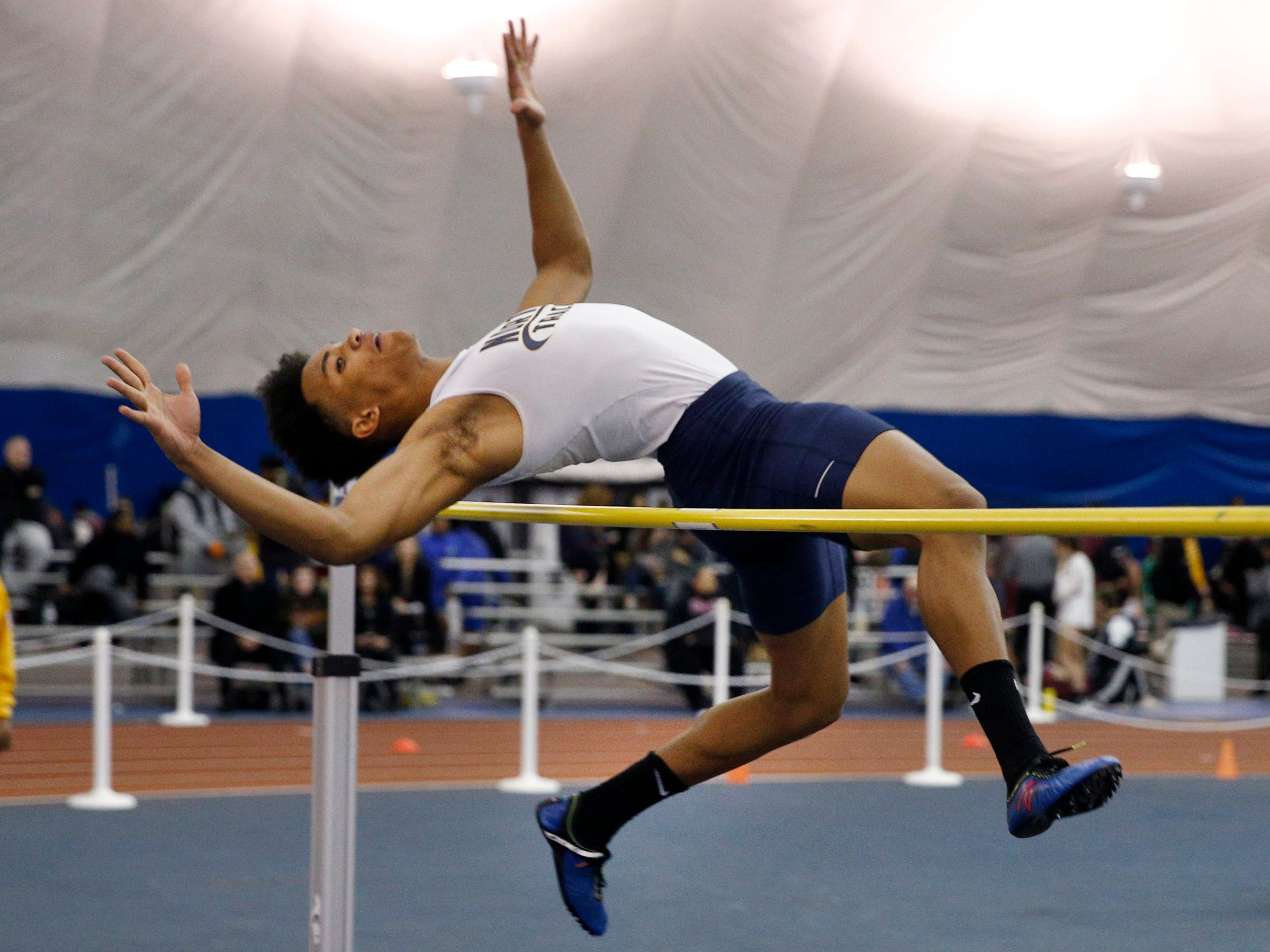 Toms River North's Jordan Grey competes in the high jump during the Ocean County Indoor Track Championships at the Bennett Indoor Complex in Toms River Wednesday, January 9th, 2019.