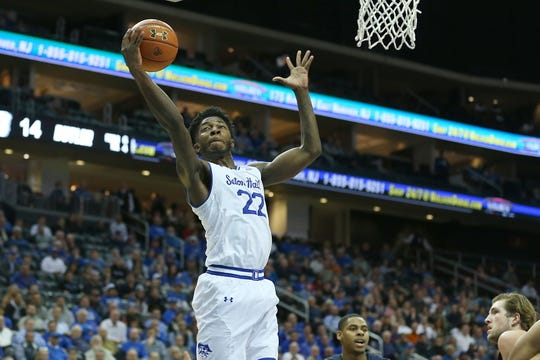 Seton Hall Pirates guard Myles Cale (22) rebounds during the first half against the Butler Bulldogs at Prudential Center.