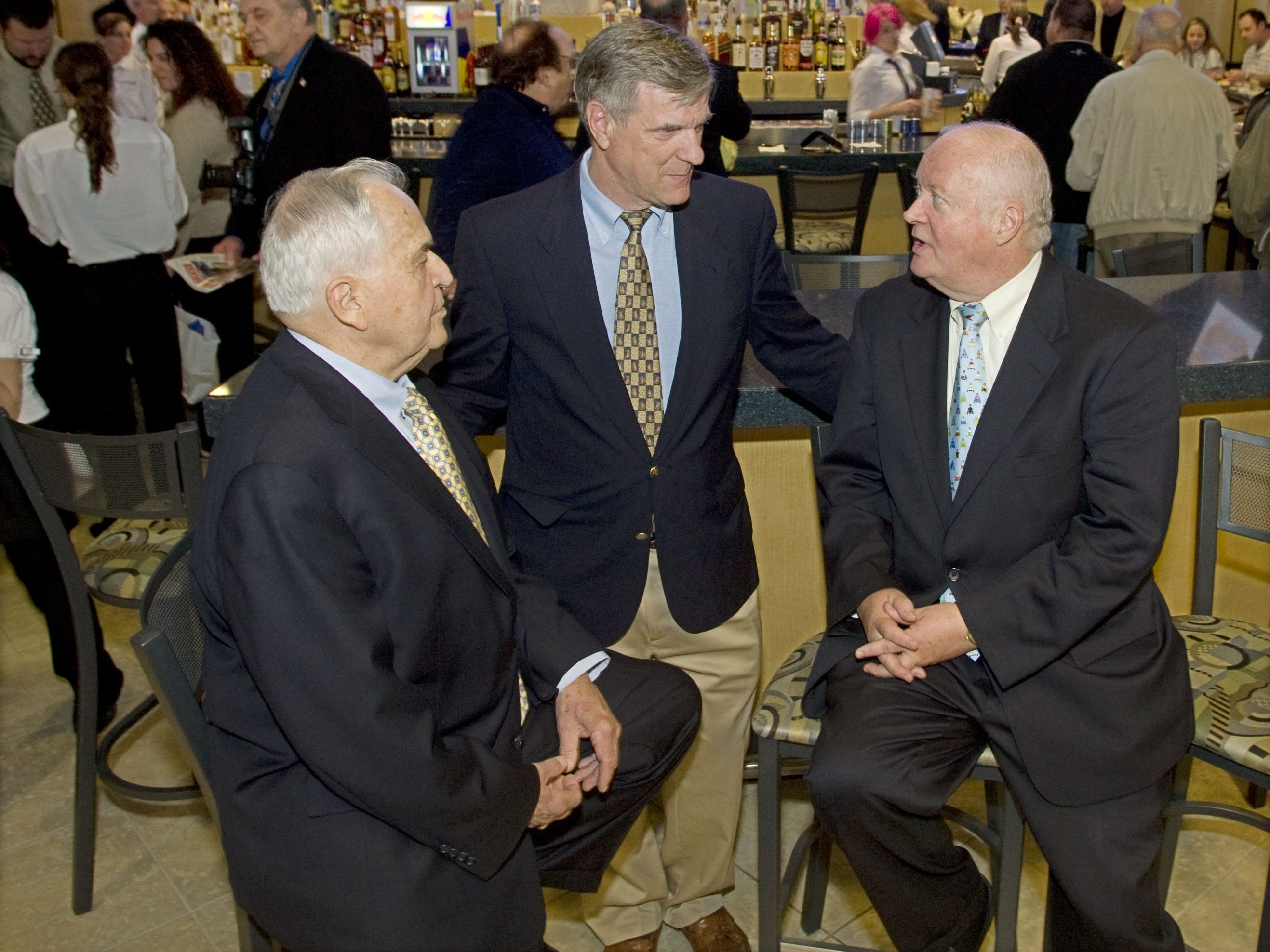 Grand opening party for the Favorites off track horse betting facility . l-r Toms River mayor Thomas Kelaher, George Gilmore, attorney for Freehold raceway and Donald Codey, Jr., president and general manager of Freehold Raceway .........Bob Bielk/Asbury Park Press-News-Neptune-4/28/08-#70205