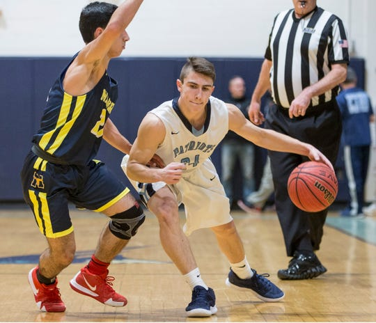 Freehold Township's Cristian Corcione drives past Marlboro's Jonathan Spatola. Marlboro vs Freehold Township basketball.  Freehold Township, NJ Thursday, January 10, 2019
