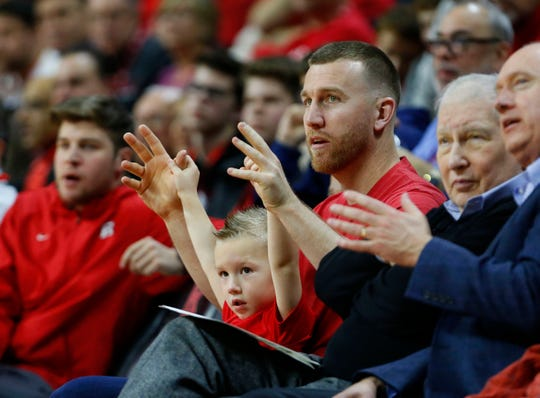 Jan 9, 2019; Piscataway, NJ, USA; Todd Frazier and his son Blake attend a basketball game between the Rutgers Scarlet Knights and Ohio State Buckeyes at Rutgers Athletic Center (RAC). Rutgers won 64-61.