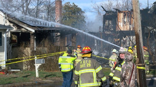 Three homes along Highfield Avenue in Aberdeen were destroyed by a fire Thursday morning, January 10, 2019.