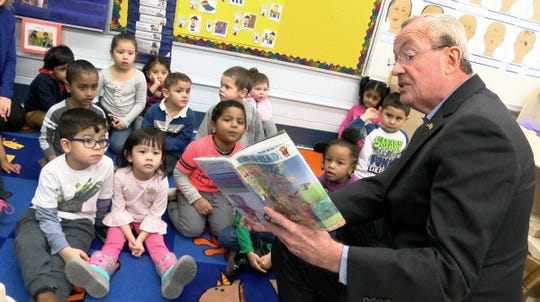 Governor Phil Murphy reads to a pre-K class at Woodmere Elementary School in Eatontown Thursday, January 10, 2019.