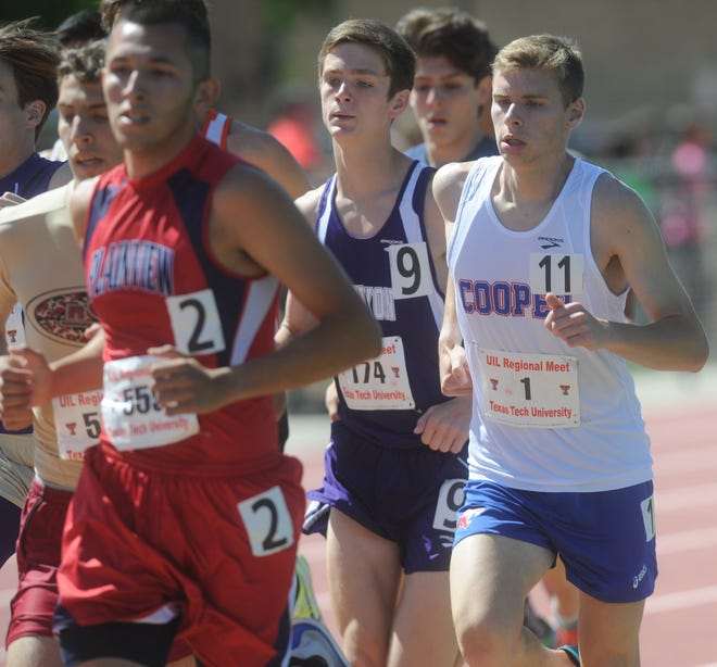 Cooper's Michael Benoit (11) runs in the boys 3,200 meters at the Region I-5A track and field meet Friday, May 1, 2015, at Texas Tech's Fuller Track in Lubbock. He finished 15th with a time of 10 minutes, 38.90 seconds.