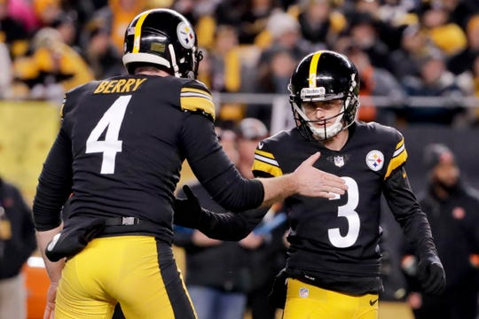 Pittsburgh Steelers kicker Matt McCrane (3) celebrates with teammates after he made a field goal to get the lead against the Cincinnati Bengals in the fourth quarter Sunday, Dec. 30, 2018, in Pittsburgh. The Steelers won 16-13.