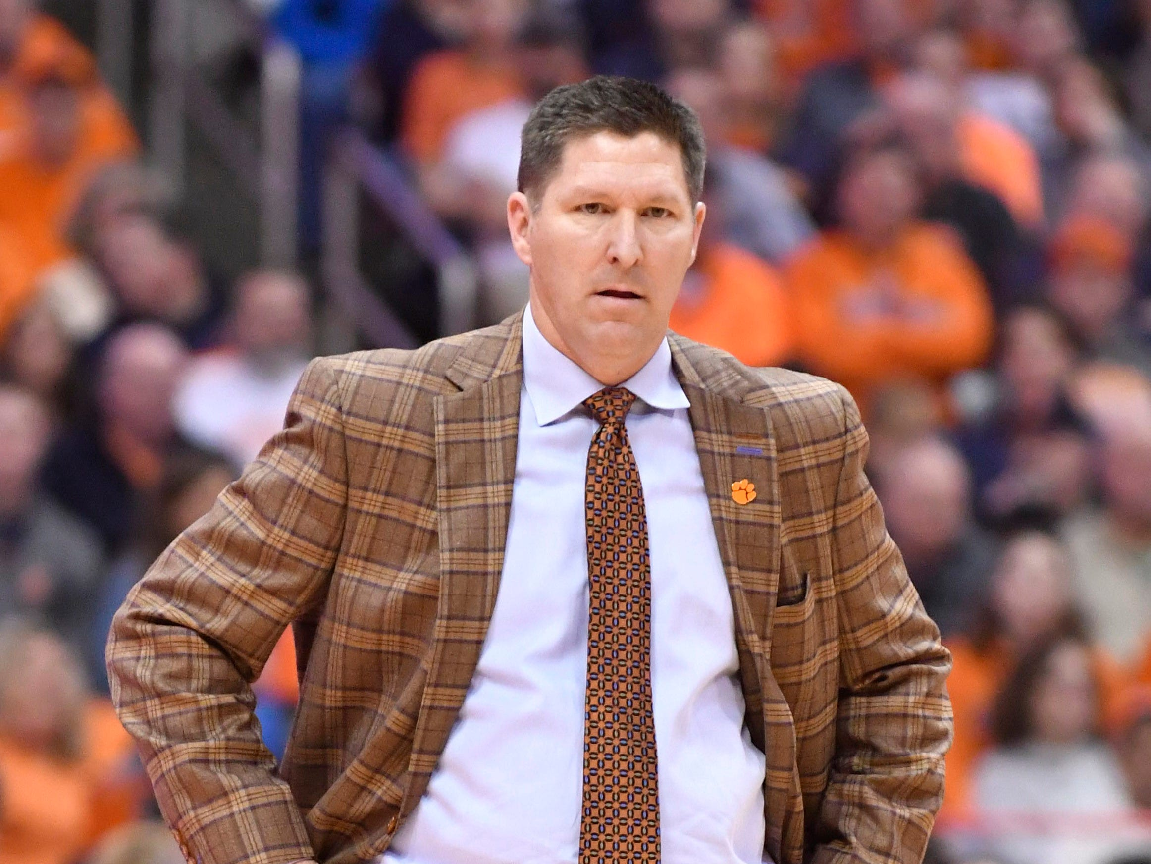 Jan 9, 2019; Syracuse, NY, USA; Clemson Tigers head coach Brad Brownell watches the play on the court against the Syracuse Orange in the first half at the Carrier Dome.