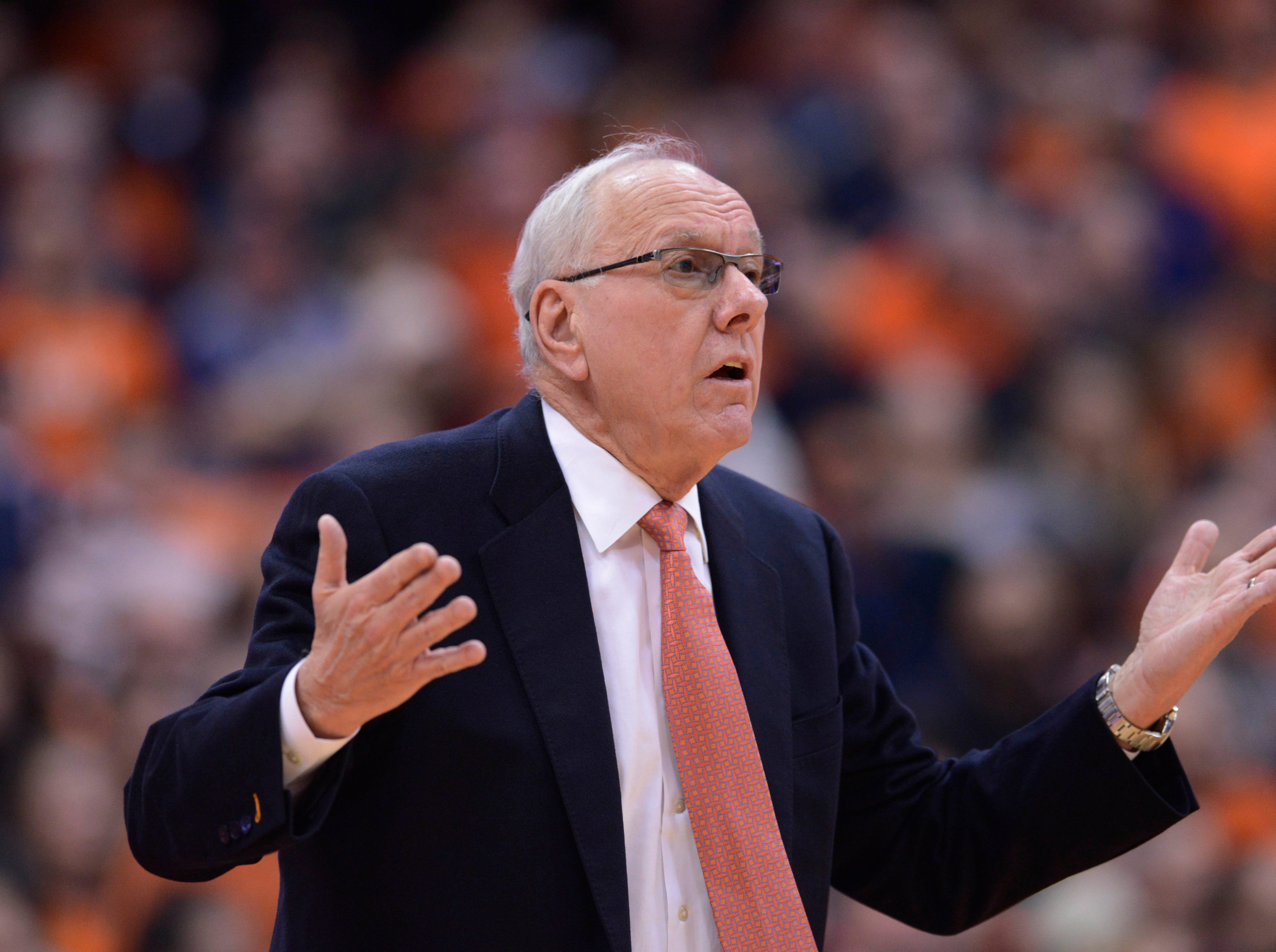 Jan 9, 2019; Syracuse, NY, USA; Syracuse Orange head coach Jim Boeheim reacts to a play during the first half against the Clemson Tigers at the Carrier Dome.