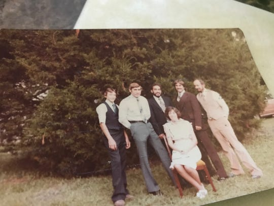 Mindi Prince's family has given her many photos of her father since they discovered their connection in October 2018. From left: siblings, Jimmy, George, TJ, Mary Ann, Stuart and Gerard Albertine.