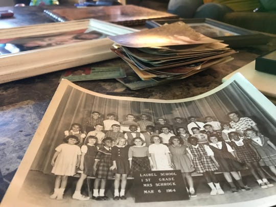 Mindi Prince has a school photo from her father's first-grade class. Stuart Albertine is shown in the third row, top left.