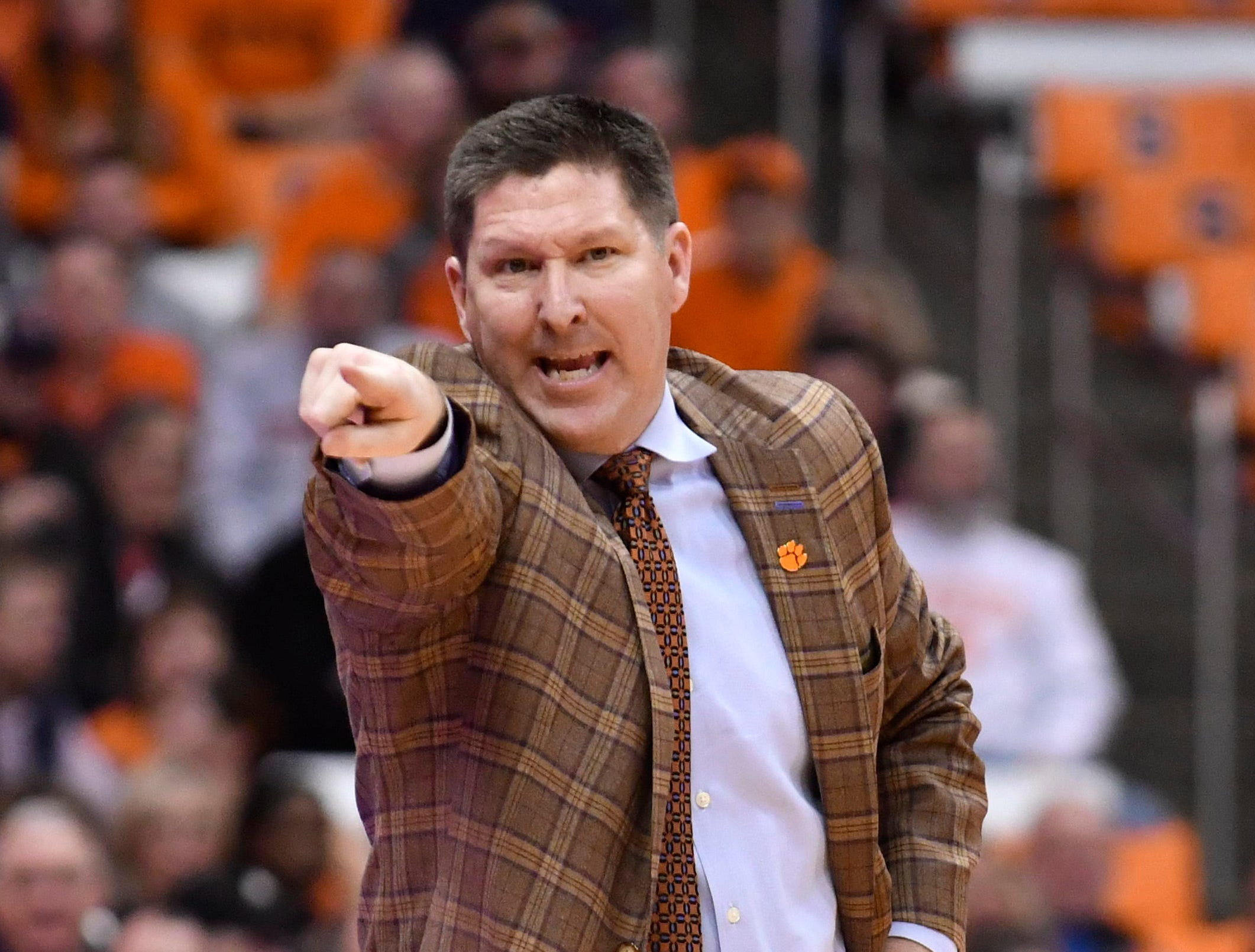 Jan 9, 2019; Syracuse, NY, USA; Clemson Tigers head coach Brad Brownell reacts to a play in the second half against the Syracuse Orange at the Carrier Dome.