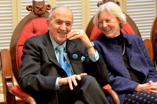 Sen. Dick Mazza, D-Grand Isle, laughs with Sen. Jane Kitchel, D-Caledonia, during the inauguration ceremony for Gov. Phil Scott and other statewide elected officials Jan. 10, 2019 at the Statehouse in Montpelier.
