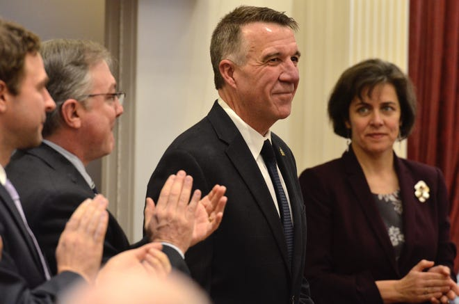 Gov. Phil Scott arrives for his second inauguration Jan. 10, 2019 at the Statehouse in Montpelier.