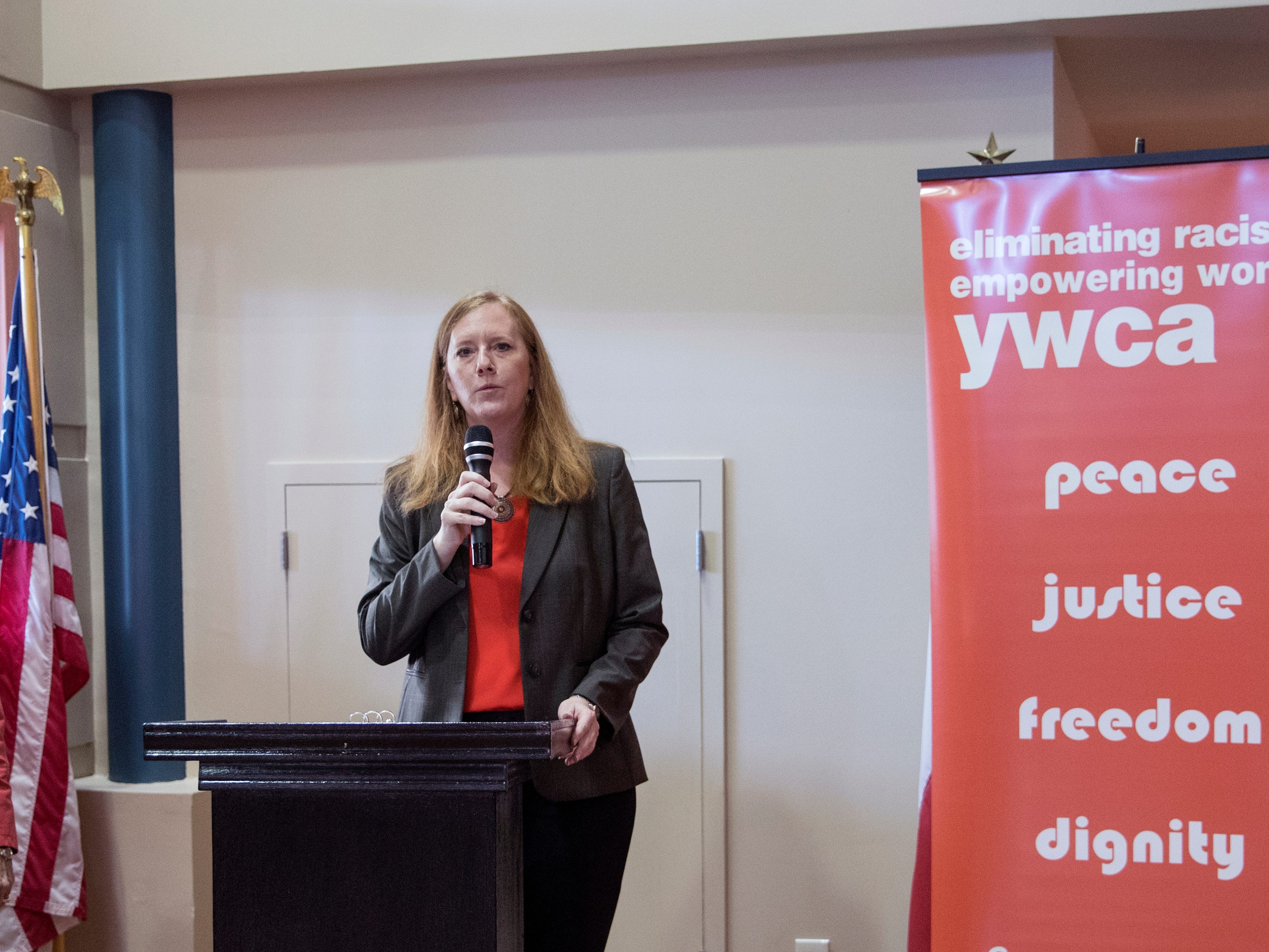 Nancy Wesson-Dodd (left), president and CEO of the YWCA and Cheryl Cain, president of the YWCA board of directors. speaks during the Y Women in Careers announcement at the YWCA on Thursday, January 10, 2019. Seven women were announced as honorees this year. Since 1979, 283 women have been honored.