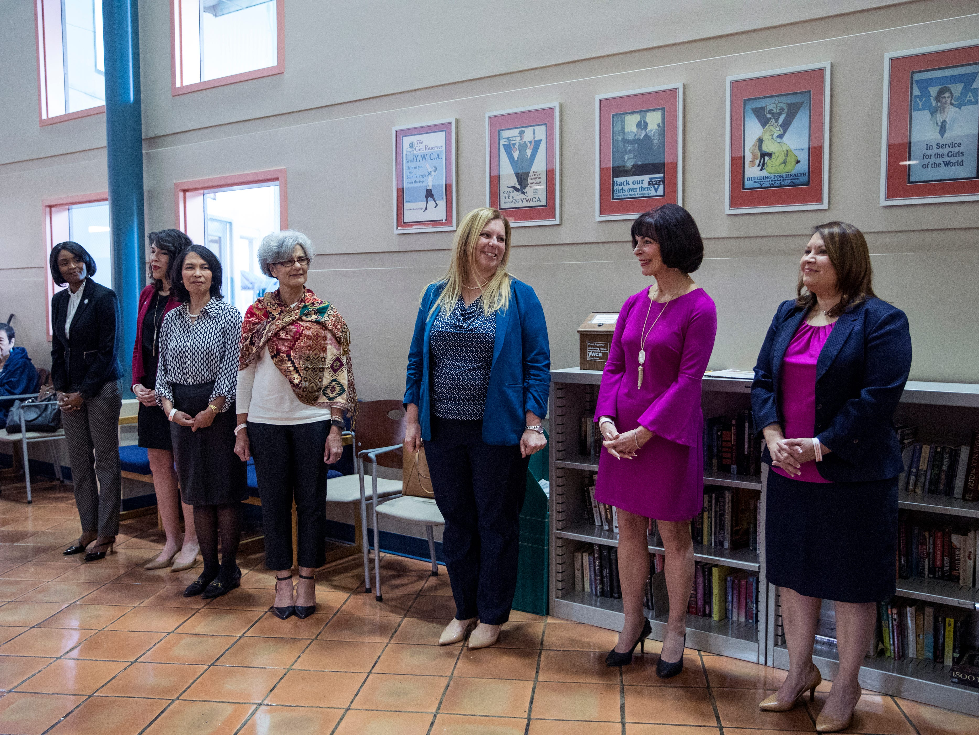 Liza Wisner (from left), Connie Rivera, Marita Rafael, Trina Martinez, Sarah Garza, Bunny D. Forgione and Starr Flores were revealed as this year's Y Women in Careers during an announcement at the YWCA on Thursday, January 10, 2019. Since 1979, 283 women have been honored.