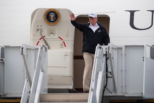President Donald Trump arrives in McAllen, Texas, to speak to officials and tour the U.S Southern border on Thursday, Jan. 10, 2019.