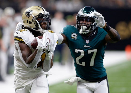 Eagles safety Malcolm Jenkins gets beat for a touchdown by Saints running back Alvin Kamara earlier this season.