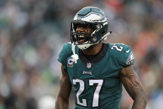 Eagles defensive back Malcolm Jenkins reacts during a game earlier this season.
