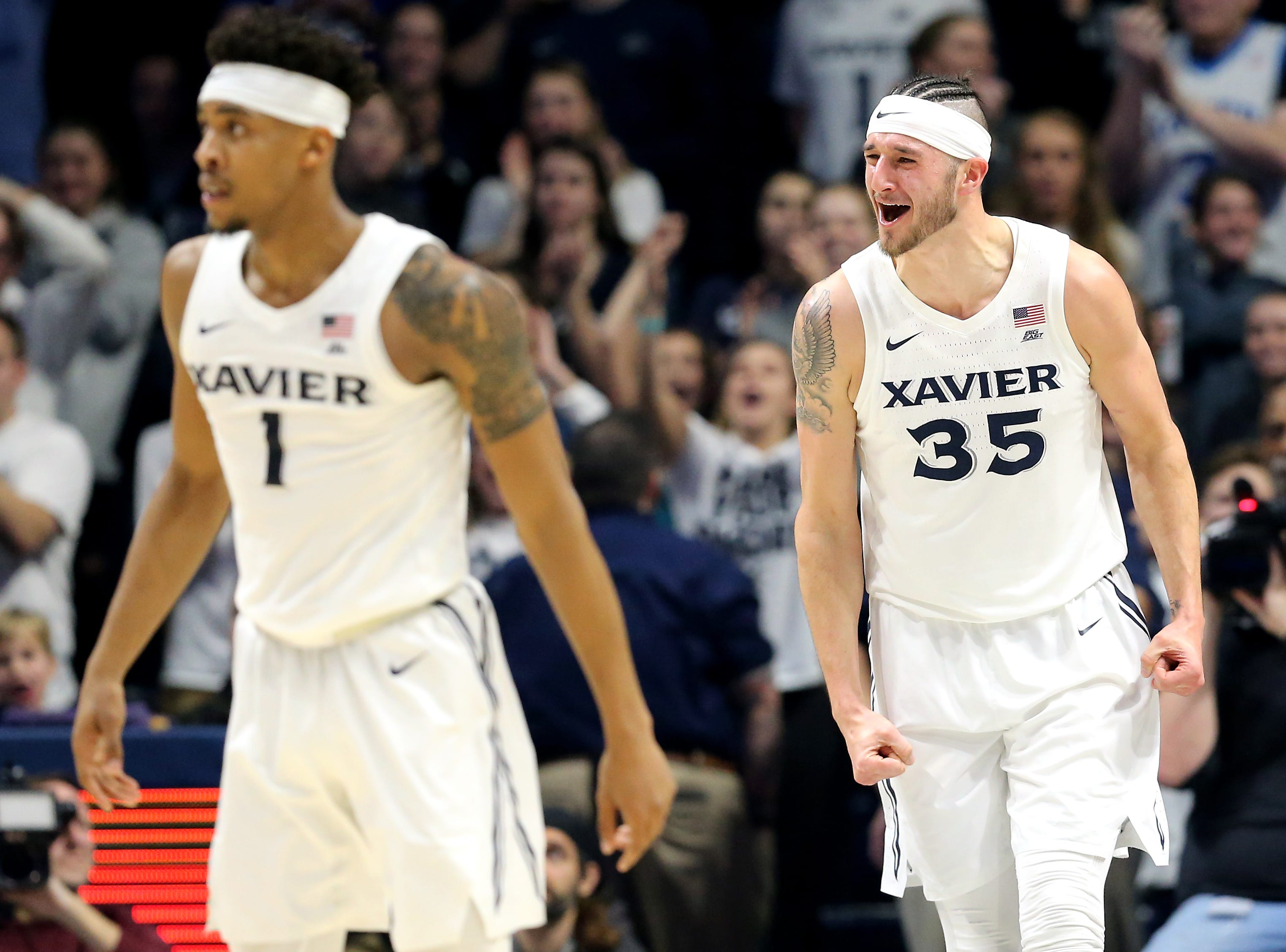 Xavier Musketeers forward Zach Hankins (35) reacts as the team pulls away in the second half of an NCAA basketball game, Wednesday, Jan. 9, 2019, at the Cintas Center in Cincinnati. Xavier Musketeers won 81-75 against the Georgetown Hoyas.