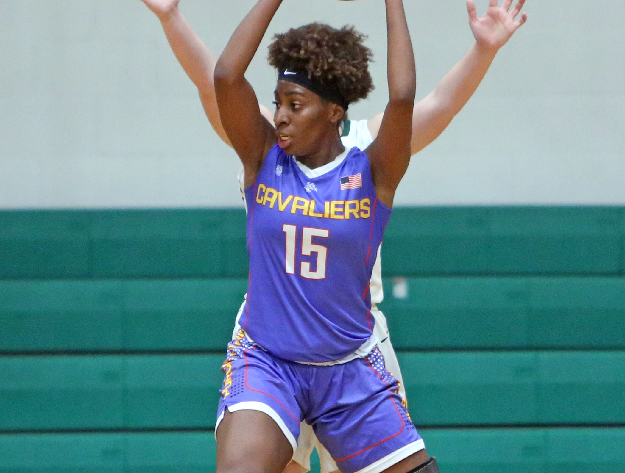 Purcell Marian guard Sha'Dai Hale looks to pass. McNicholas upset Purcell 51-50.