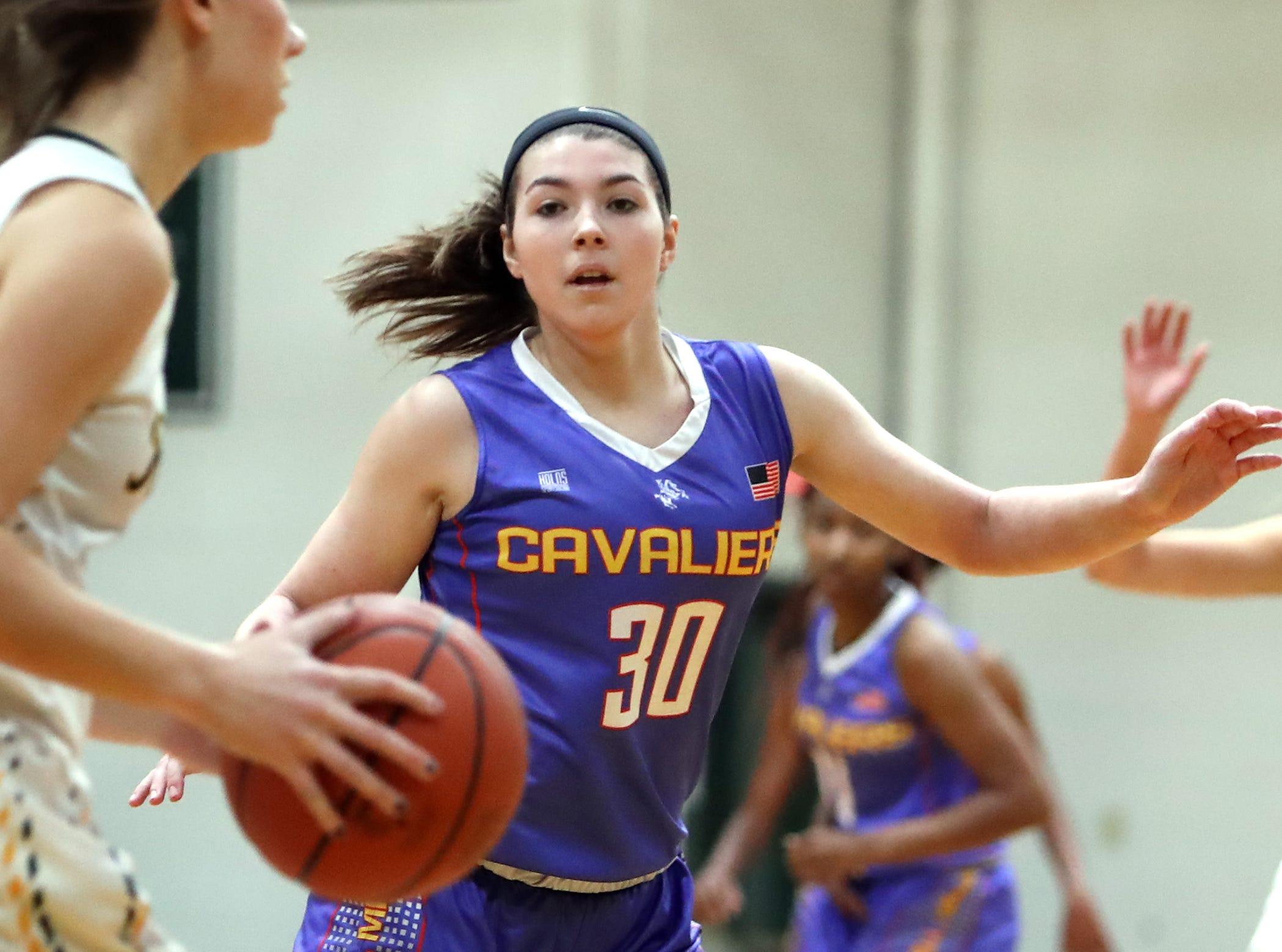 Purcell Marian forward Kara King sets up on defense. McNicholas upset Purcell 51-50 Jan. 9.