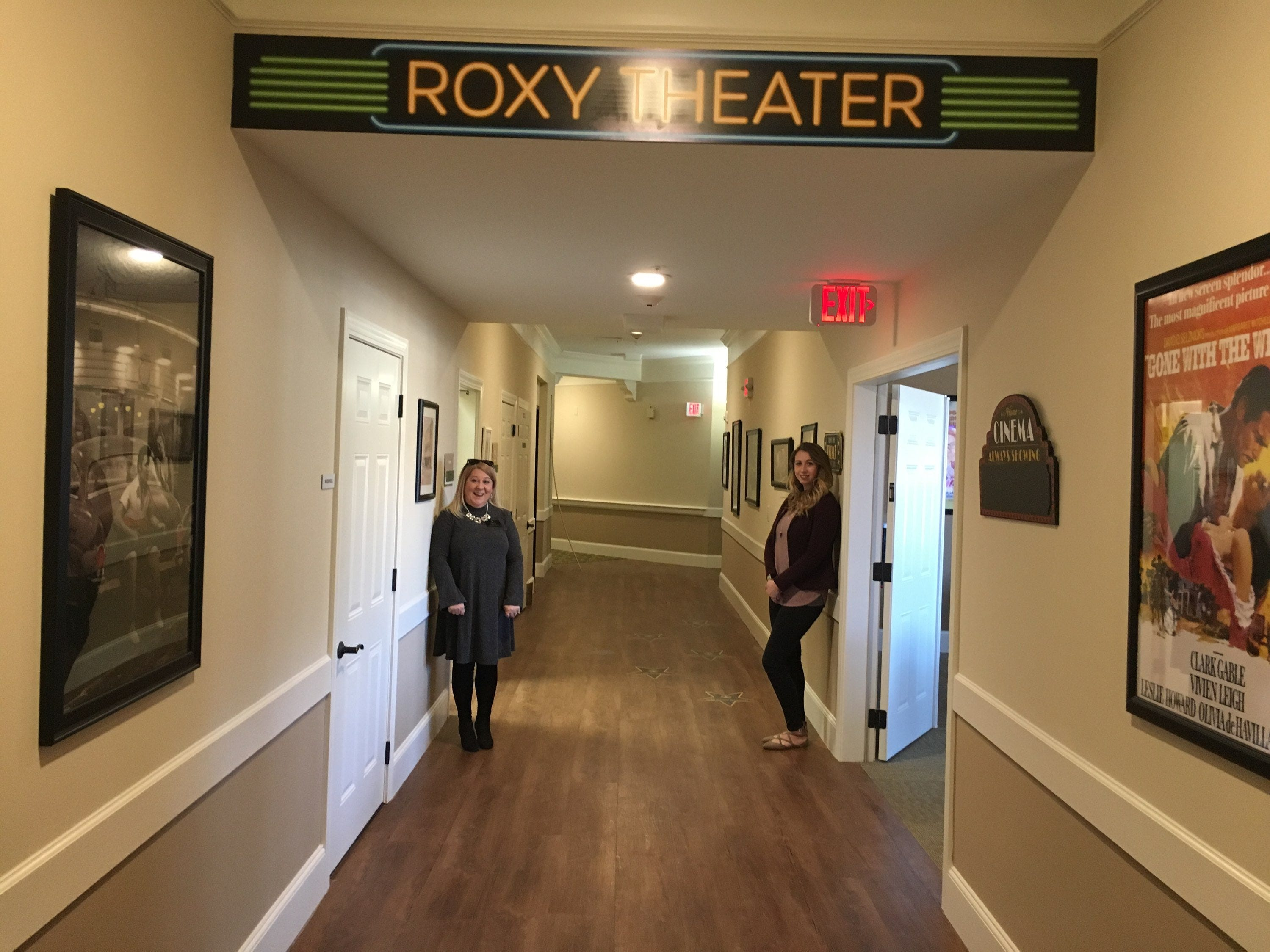 """Alison Hurt, left, community relations director, and Meagan Smith, executive director, in the """"Roxy"""" area of the Villages at the River Club."""