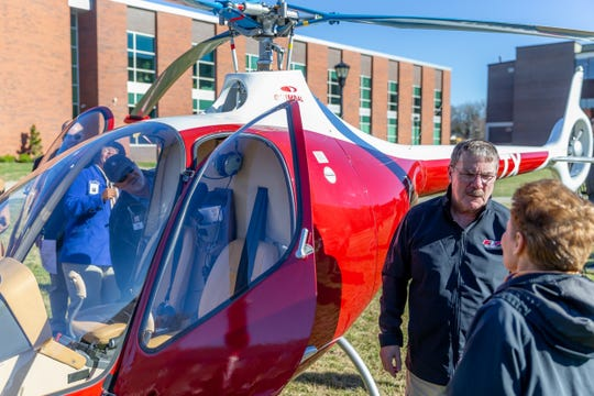 Charles Weigandt after landing the GOV 1 helicopter at Austin Peay State University on Wednesday, Jan. 9, 2019.