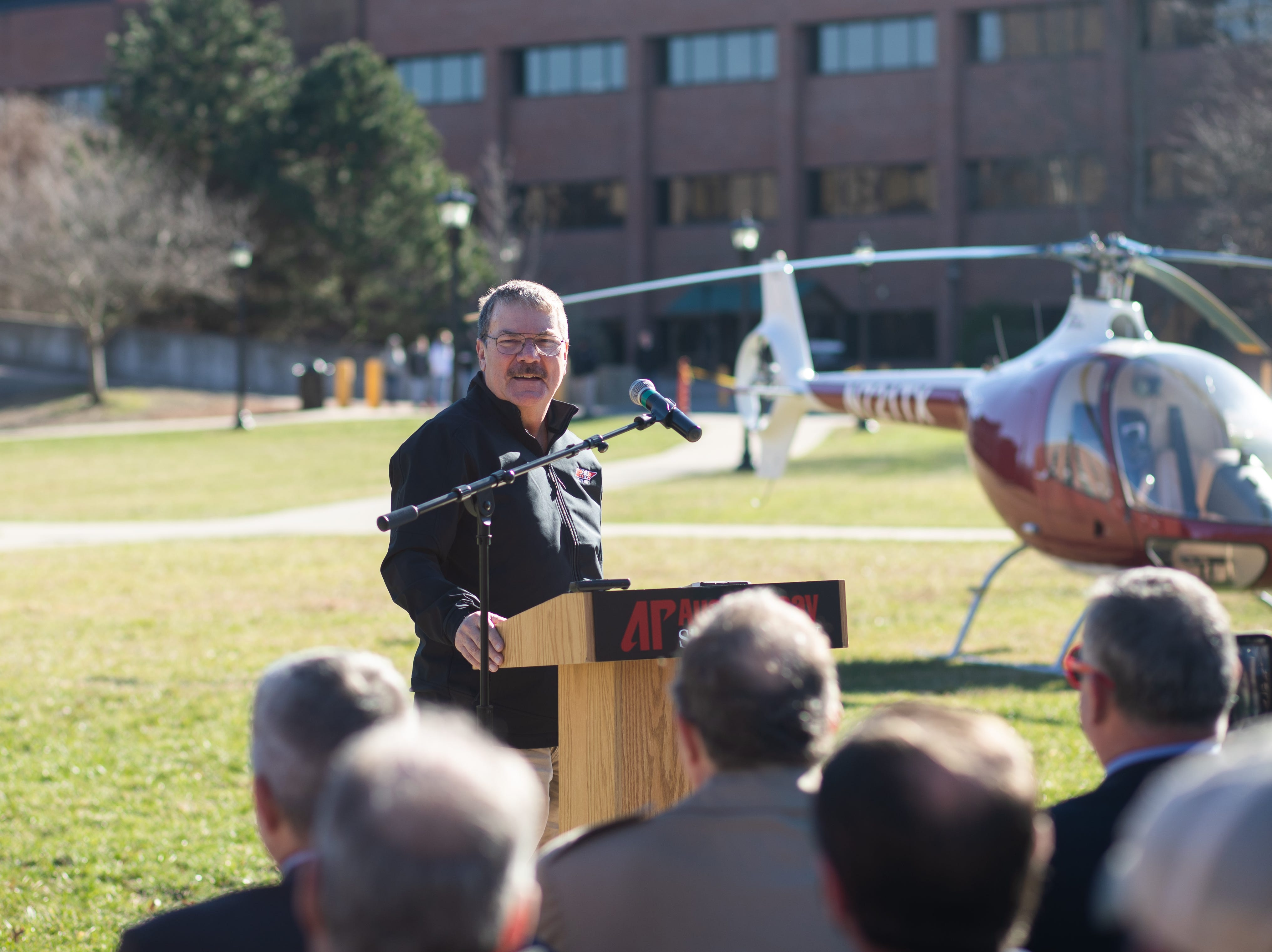 Charles Weigandt talks to the crowd after landing the GOV 1 helicopter at Austin Peay State University on Wednesday, Jan. 9, 2019.