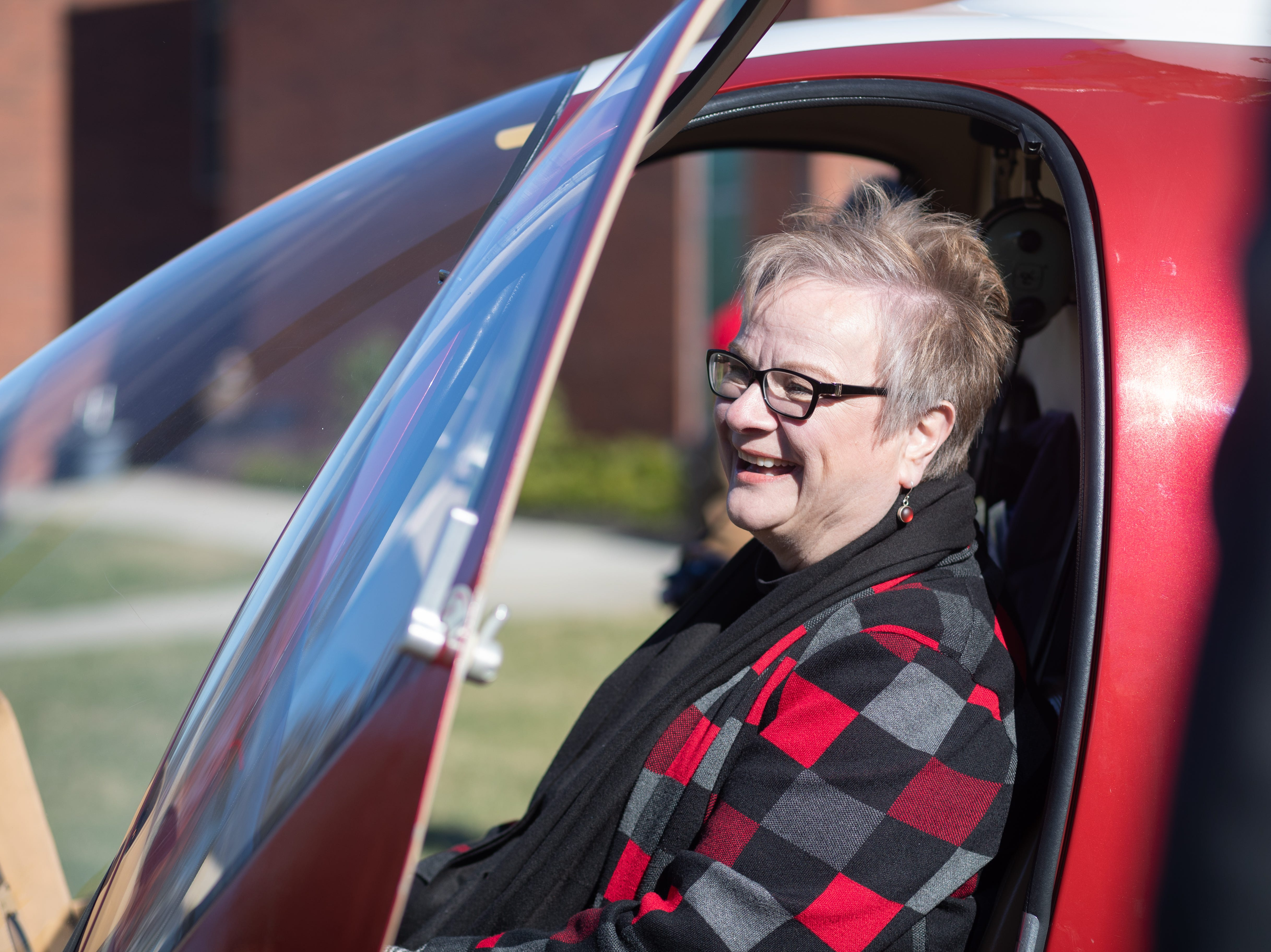 APSU President Alisa White inside the GOV 1 helicopter at Austin Peay State University on Wednesday, Jan. 9, 2019.