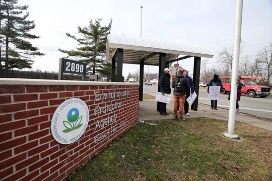 Furloughed EPA workers protest government shutdown outside the Environmental Protection Agency in Edison, NJ Thursday January 10, 2019.