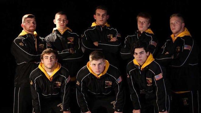 Members of the Voorhees wrestling team. (Top row) Charlie Eberle, Matt Brandner, Lewis Fernandes, Jacob Baytoff, Sam Huff. (Bottom row) Hunter Rinehart, Austin Newarski, Aidan Taylor