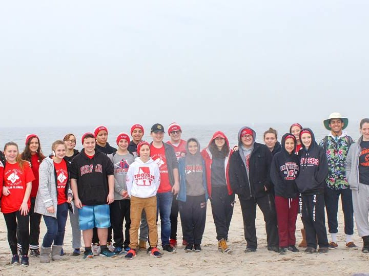 Bishop George Ahr High School's polar plunge 2019.  Photo from last year's plunge.