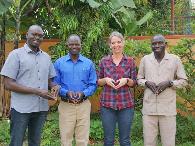 From left to right: director of New Life Ministry from South Sudan and last year's winner of the Tannenbaum Peace Makers in Action Award James Lual Atak, executive director of Lift Up the Vulnerable Audrey Walters-Moore, director of Hope for South Sudan Peter Lomago and director of Our Father's Cleft in Sudan Ezekiel Ayub.
