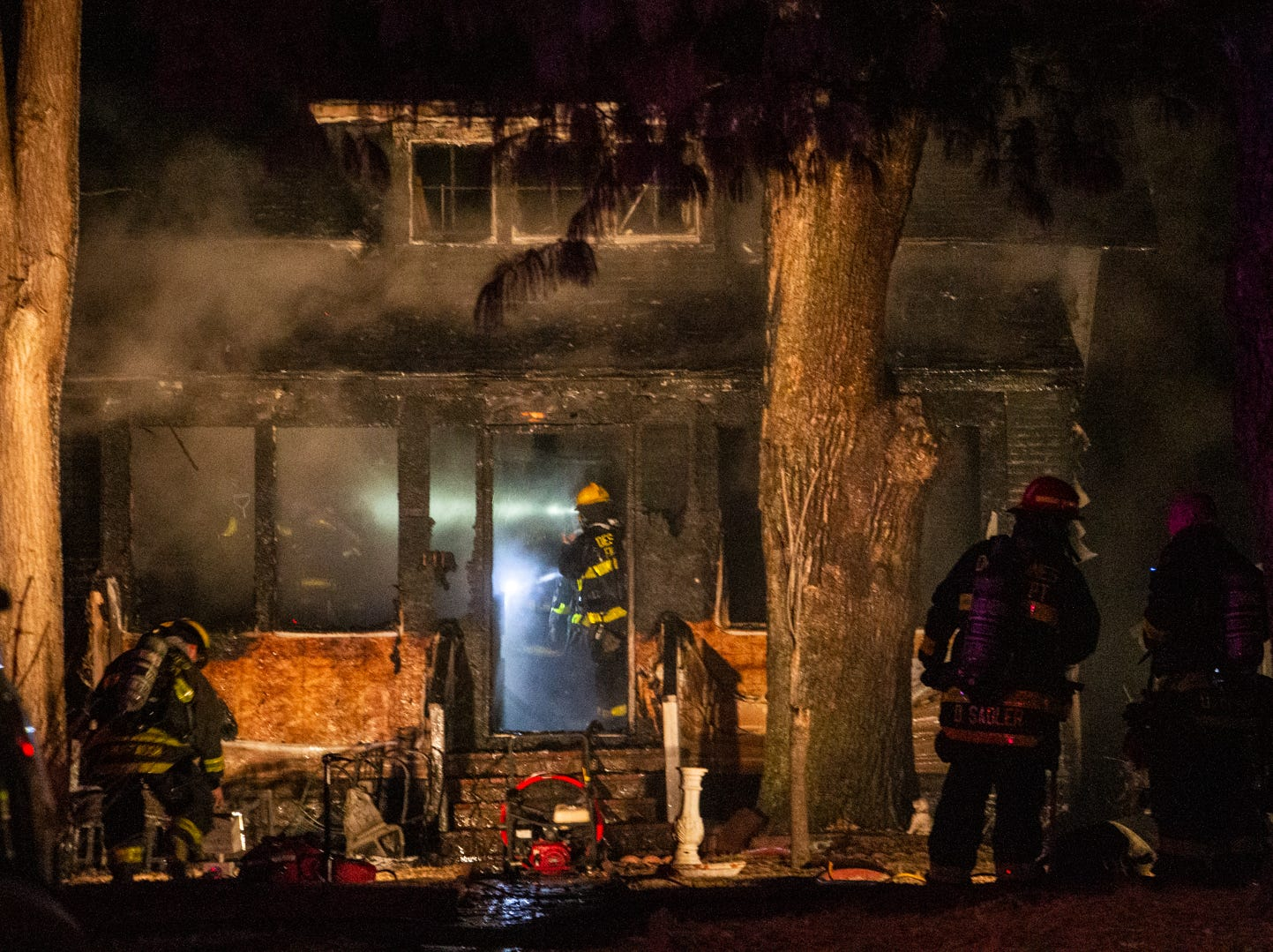 FIre crews work to extinguish a blaze at 1113 37th Street on Wednesday, Jan. 9, 2018.