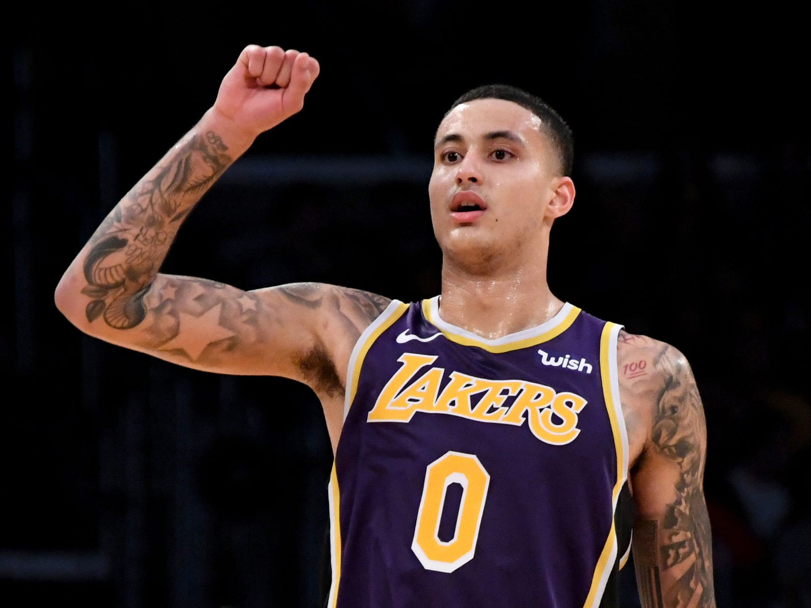 Los Angeles Lakers forward Kyle Kuzma (0) reacts  in the second half against the Detroit Pistons at the Staples Center on Wednesday, Jan. 9, 2019, in Los Angeles.