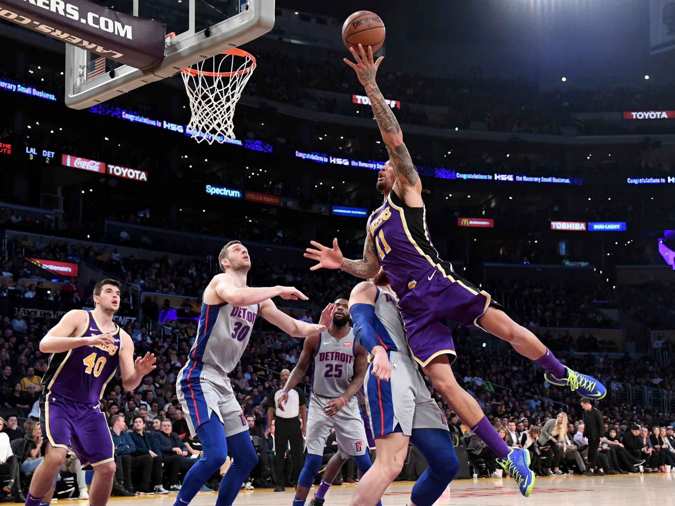 Detroit Pistons forward Blake Griffin (23) applies pressure to Los Angeles Lakers forward Michael Beasley (11) during the second half at the Staples Center on Wednesday, Jan. 9, 2019, in Los Angeles.