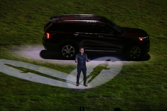 Hau Thai-Tang, Ford executive vice president of product development and purchasing, speaks during an unveiling of the 2020 Ford Explorer at Ford Field in Detroit on Wednesday, January 9, 2019.
