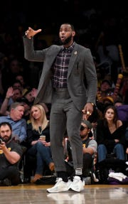 Los Angeles Lakers forward LeBron James (23) reacts against the Detroit Pistons during the second half at the Staples Center on Wednesday, Jan. 9, 2019, in Los Angeles.